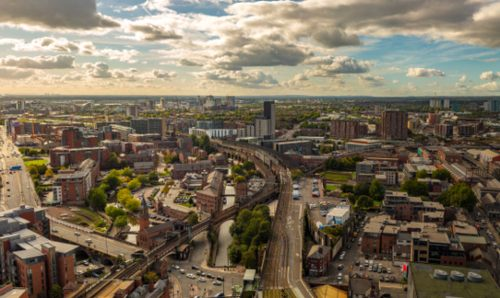 Cityscape over Manchester City Centre.