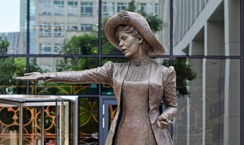 Bronze statue of Emmeline Pankhurst in Manchester City Centre.