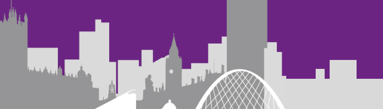 silhouette of city scene on purple background