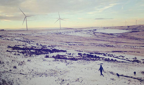 Wind turbines on a snow covered moor