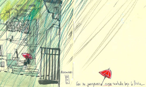 Sketch of red umberella in the street
