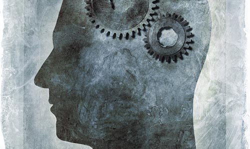 Painting of a head containing a pair of cogs in place of a brain