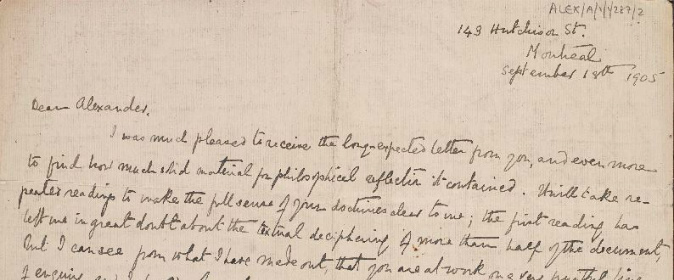 Extract of handwritten letter from Taylor to Alexander