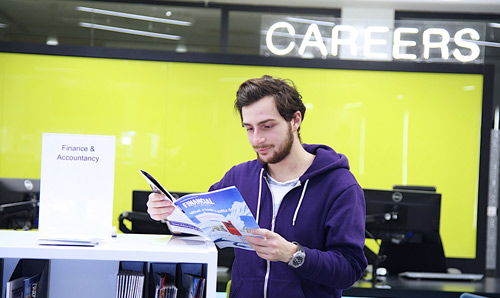 Student in the careers advice centre at The University of Manchester