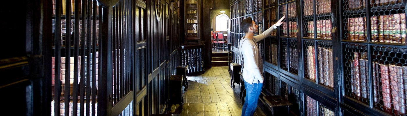 A politics student in Chetham's Library