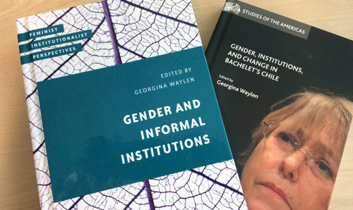 Photograph of book covers - 'Gender and Informal Institutions' and 'Gender, Institutions and Change in Bachelet's Chile' by Georgina Waylen