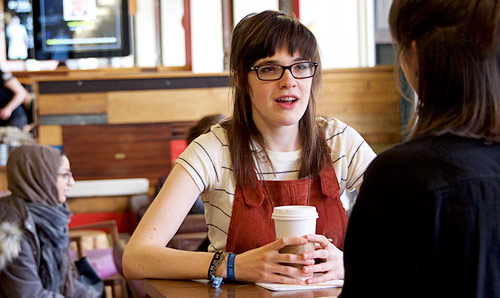 Female student in coffee shop
