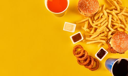 Picture of various fast food - aerial view.