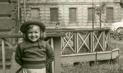 Vintage photo of a girl in the 1950s.