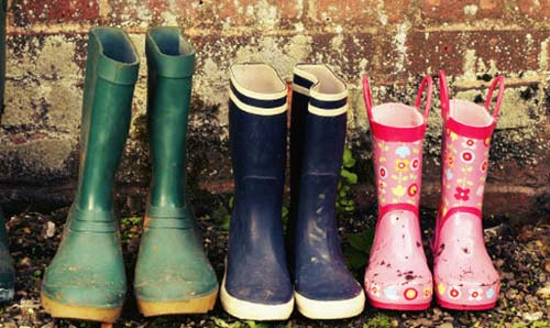 Family wellies lined up