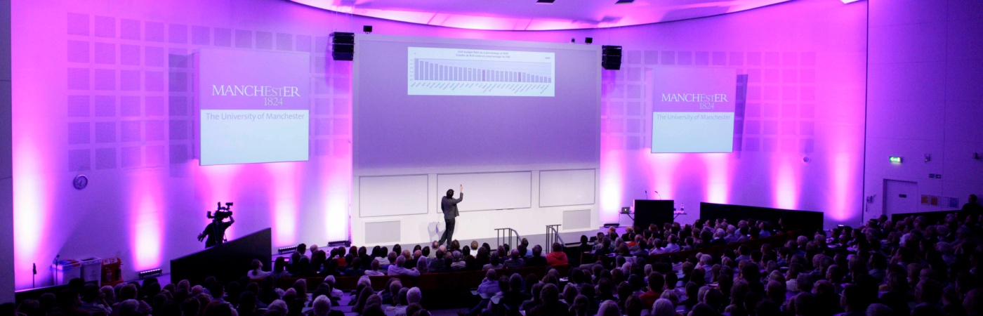 Full lecture theatre during an event