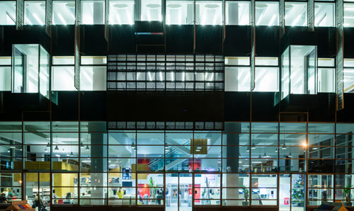The Alan Guilbert Learning Commons at night