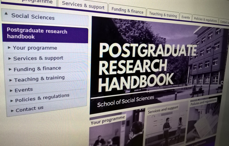 Screenshot of the online handbook