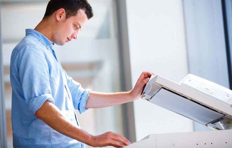 Student using photocopier